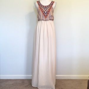 Flying Tomato Halter Boho Embroidered Maxi Sz L